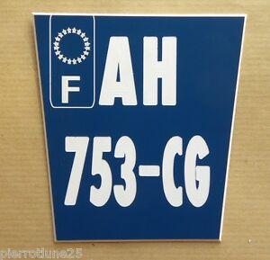 plaque gravée style immatriculation 2 lignes (F) ft 8,5x9 Trapézoidale moto KTM