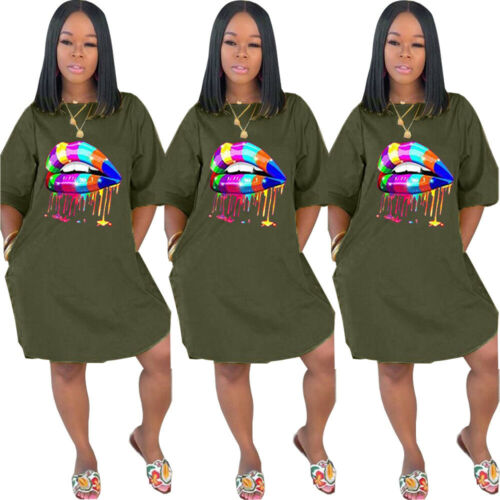 NEW Stylish Women/'s Short Sleeves O Neck Colorful Lips Print Casual Dress Club