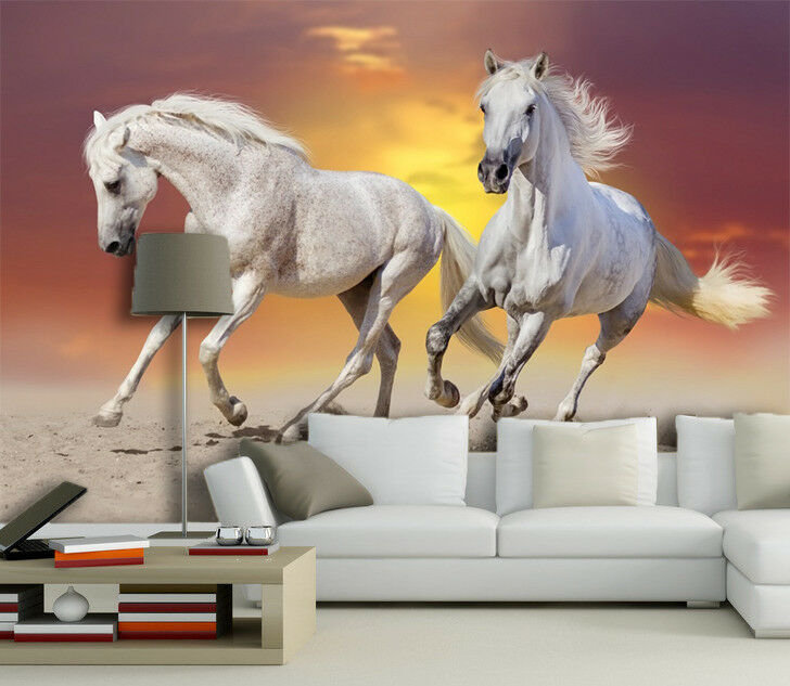 3D Two White Horses 74 Wall Paper Murals Wall Print Wall Wallpaper Mural AU Kyra