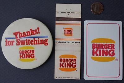 1960 70s Era Burger King 3 Three Piece Set Pin Matchbook Playing Card Vintage Ebay