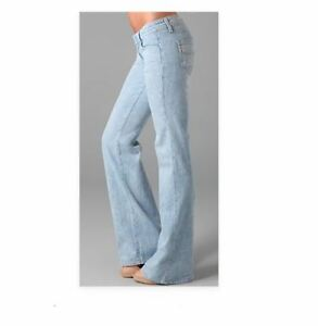 Paige-Jeans-26-Bentley-Wide-Leg-Flare-Medium-Wash-Denim-Pants-L-33-Light-Wash