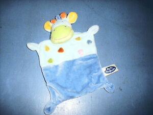 DEC3/ DOUDOU MOTS DENFANTS GIRAFE VACHE PLAT BLEU ORANGE