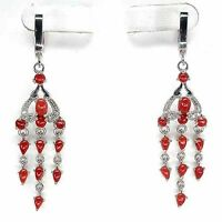 Sterling Silver 925 Stunning Genuine Natural Coral Dangle Earrings