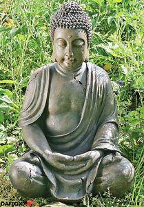 BUDDHA-FIGUR-70cm-FENG-WETTERFEST-SHUI-STATUE-SKULPTUR-MODELL-MONCH-GARTEN-GRAU