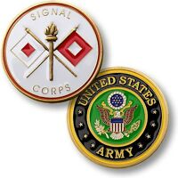 Us Army Signal Corps Challenge Coin Flags Torch Fort Gordon Ga United States Usa