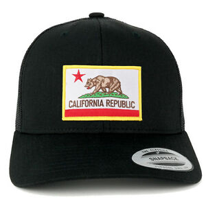 adf08575526 Image is loading FLEXFIT-CALIFORNIA-Flag-Embroider-IronOn-Patch-Snapback- Trucker-