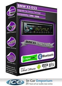 BMW-X5-E53-DAB-radio-Pioneer-stereo-CD-USB-AUX-player-Bluetooth-handsfree-kit