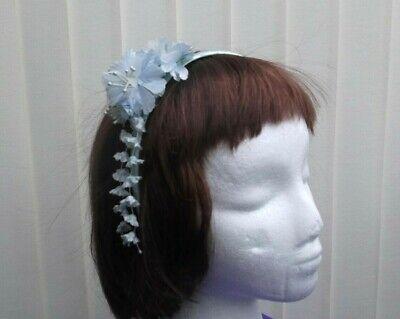 Aqua/blu Fiore Decorato Fascia Alice/fascia Per Capelli-nozze, Feste, Ecc.-mostra Il Titolo Originale