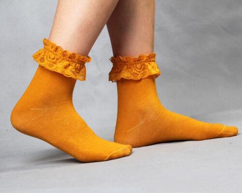 Damen Damen Retro Cute Lace Rüschen Rüschen Knöchel Socken Baumwolle Sock AB