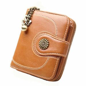 Porte-cartes-pour-femme-en-cuir-vintage-court-petit-portefeuille-bifold-zipper