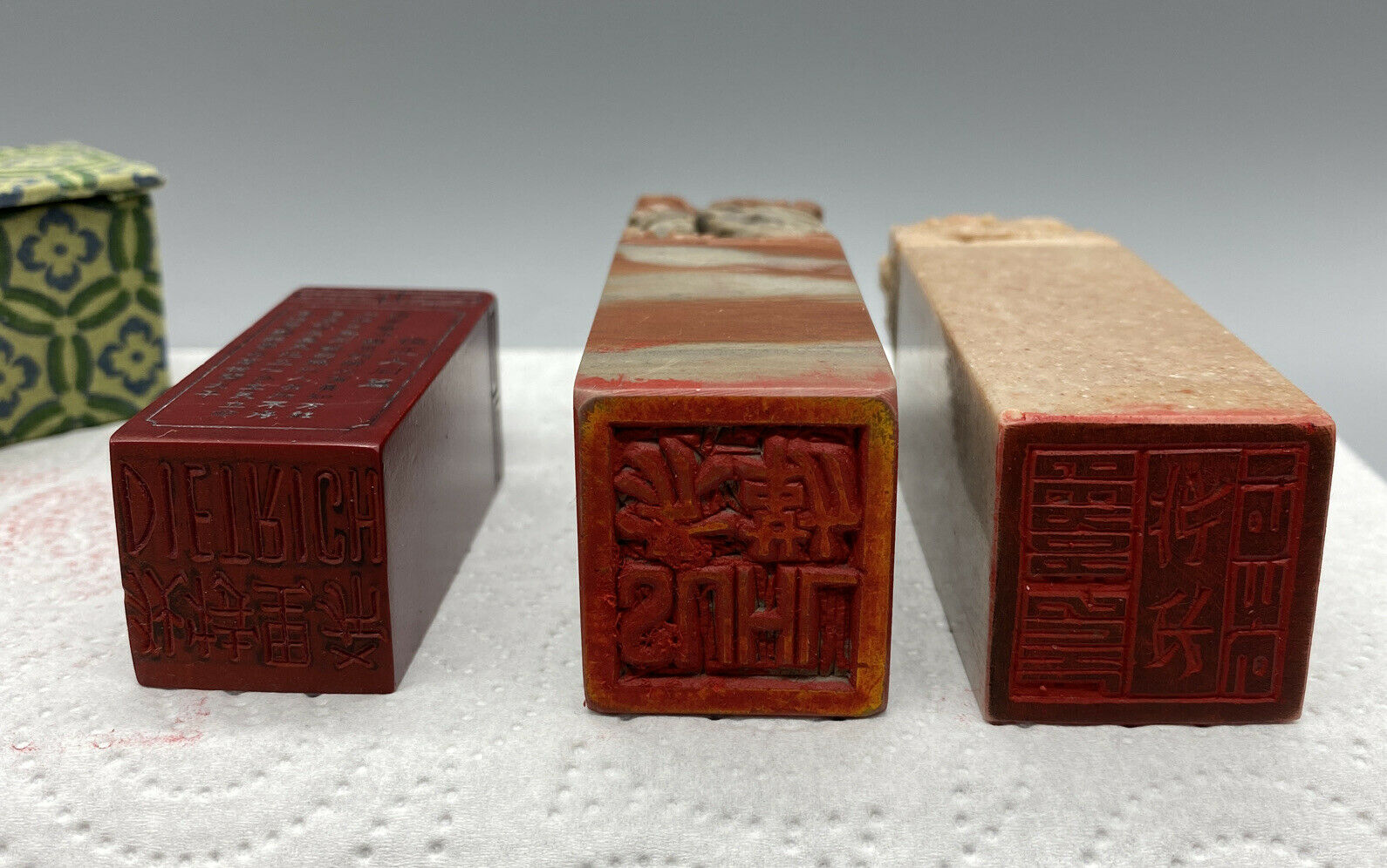 Image 6 - 3 Antique Chinese Stamp With Stamp Colour-Filled Porcelain Pot