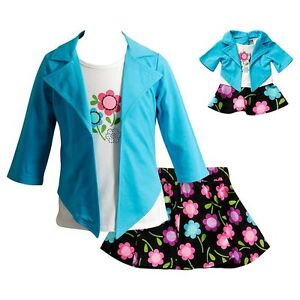 Dollie-Me-Girl-4-14-and-Doll-Matching-Floral-Skirt-Mock-Top-Outfit-American-Girl