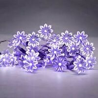 PURPLE SET OF 20 BATTERY OPERATED LED FLOWER FAIRY STRING LIGHTS