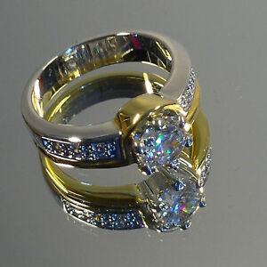 Engagement-Ladies-Gold-Silver-Ring-Cubic-Zirconia-six-Swarovski-Stones-NEW
