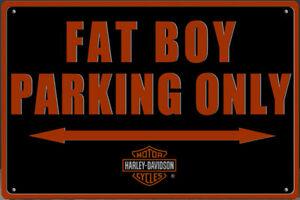 Blechschild FAT BOY PARKING ONLY 30 x 20 cm Metallschild Vintage NEU
