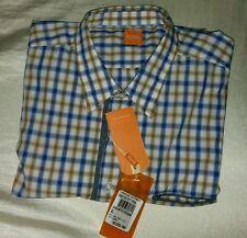 Hugo Boss Orange Button Down CieloebuE Shirt Sz XL Blue & Gold Plaid $125  NWT