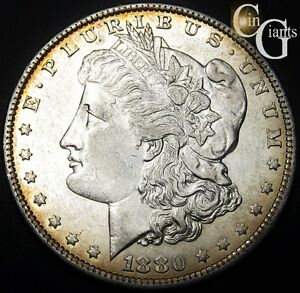 1880 O Morgan Silver Dollar Gold Toned Uncirculated Coin