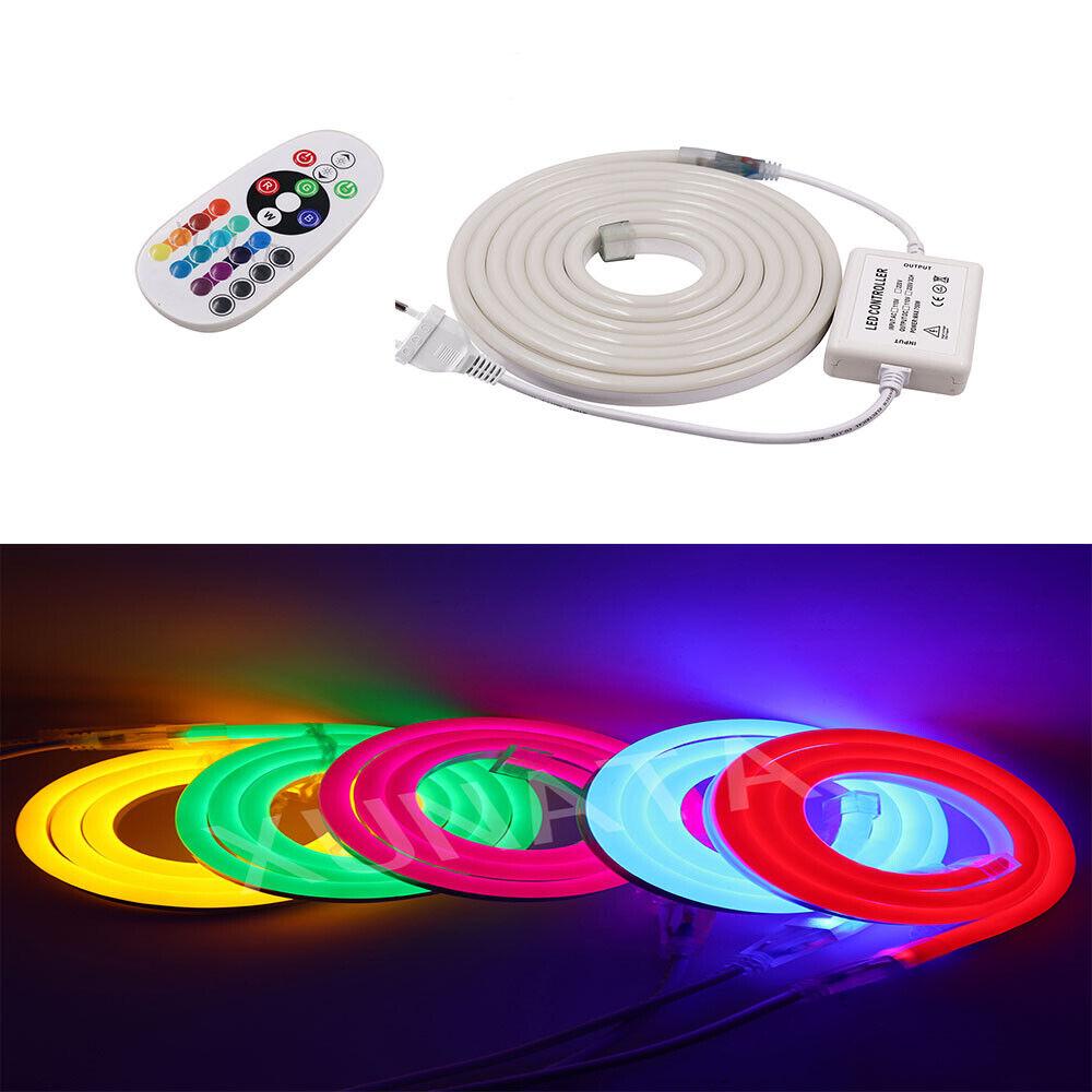 220V 5050 LED Neon Light Strip Flexibel Outdoor Holiday LED Rope Lampe+EU PLUG