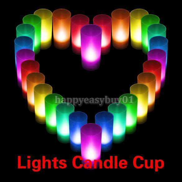 LED Electronic Romantic 7 Colors Light Flameless Candle Cup Lamps Room Decor
