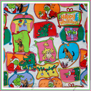 BonEful Fabric FQ Cotton VTG White Red Green Dr Seuss Xmas Santa GRINCH Tree OOP