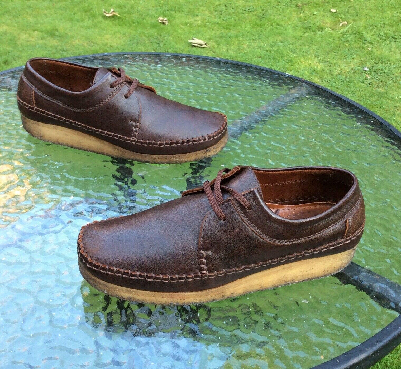 Clarks Originals Wallabees Weaver Chocolate Brown Leather Moccasins Shoes | 9 UK