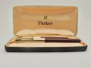 Vintage-Boxed-Custom-Parker-51-Fountain-Pen-Chalk-Marks-R-G-Cap-amp-Pencil-WK06