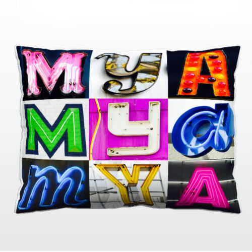 Personalized Pillow featuring the name MYA in photos of actual sign letters