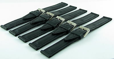SET OF 5 RUSSIAN VOSTOK MILITARY(18 MM BLACK) WATCH STRAP BAND (GENUINE LEATHER)