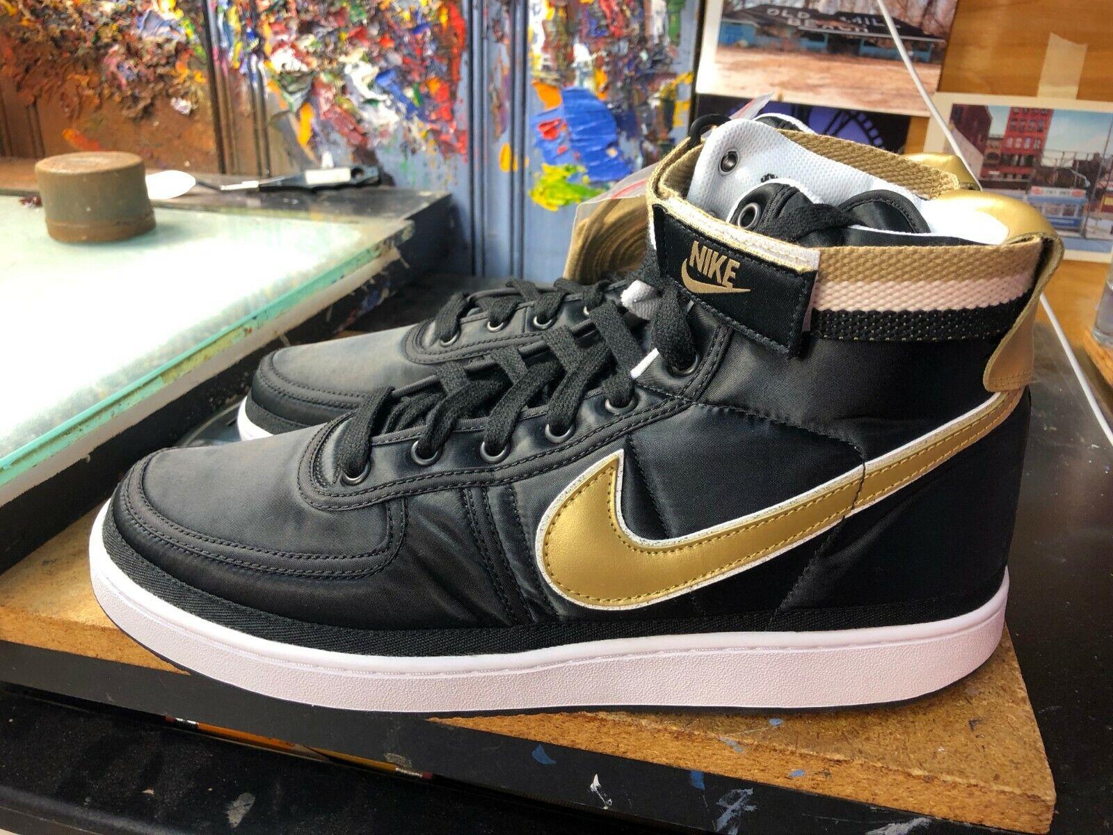 Nike Vandal High Supreme Black Metallic gold Size US 10.5 Men's AH8652 002 New