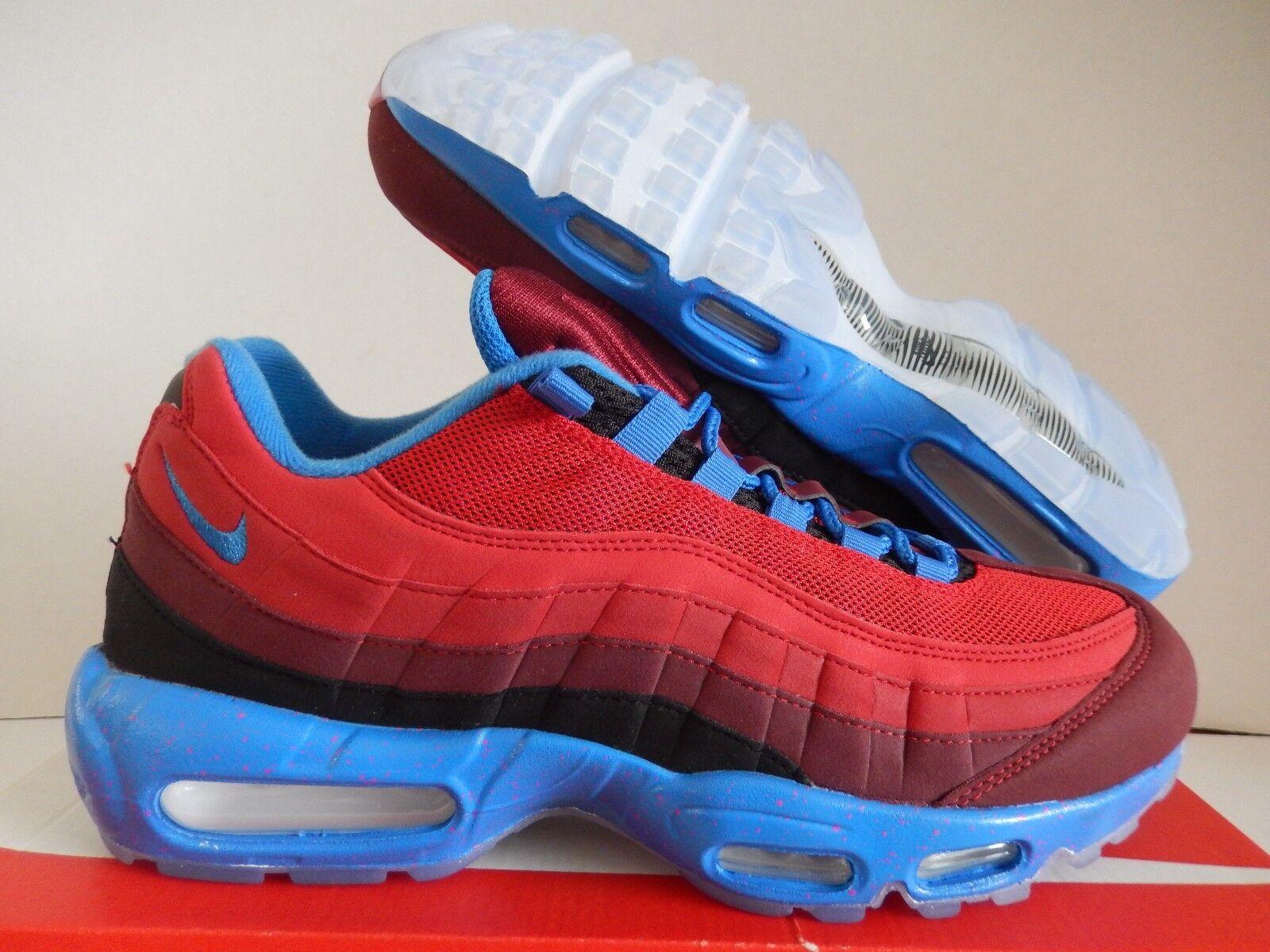 NIKE AIR MAX 95 ID RED-RED-BLACK-blueE SZ 11.5 WOMENS-MENS SZ 10 [818593-996]