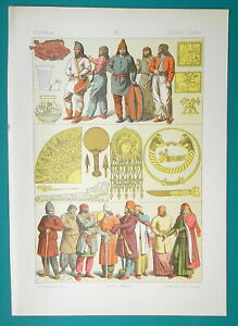 COSTUME-of-Ancient-Scythia-Parthia-Jewelry-Arms-1883-Color-Litho-Print