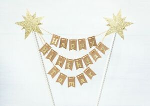 Excellent Rustic Happy Birthday Cake Topper Banner Bunting Funny Birthday Cards Online Necthendildamsfinfo