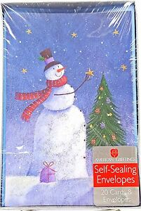 Snowman-Christmas-Tree-Glitter-Holiday-Cards-20-count-New