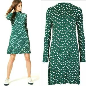 New-Ex-M-S-Ladies-Womens-Green-Floral-Ditsy-Jersey-Swing-Day-Skater-Tea-Dress