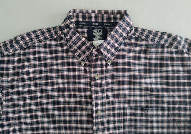 Wrangler Twenty X Red Blue Plaid Button Down Short Sleeve Mens Shirt Size XL ZJ