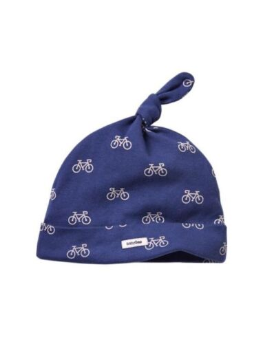 GAP Baby Boys NWT Size 6-12 Months Blue White Cotton Bicycle Knot Hat Beanie Cap