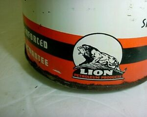 Hard to Find 1940's era LION NATURALUBE MOTOR OIL Old Solder Seam Tin 1 qt. Can