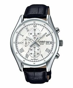 BEM-512L-7A-White-Casio-Men-039-s-Watches-Leather-Band-Chronograph-Beside-New