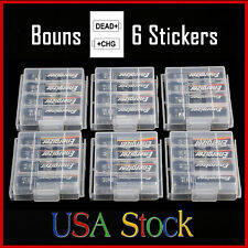 6 Pcs AA AAA Cell Battery Storage Case Holder Organizer Box with Charge Reminder