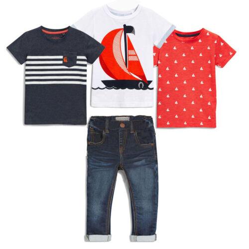 4PCS Toddler Baby Boys Outfits 3pc T-Shirt tops Denim pants Kids Clothes Set