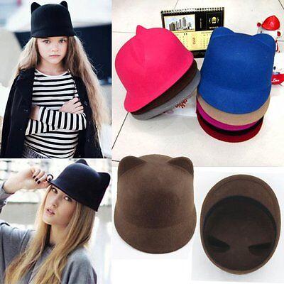 New Fashion Women Winter Devil Hat Lovely Kitty Cat Ears Wool Derby Bowler Cap