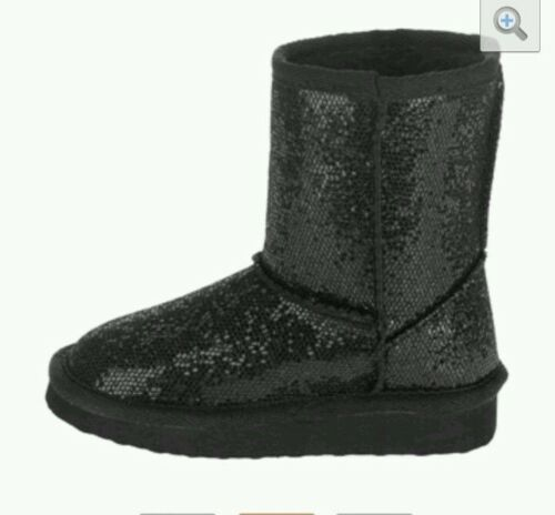 Toddler Girls/' Black Glitter Sparkle Lug Sole Mid-Calf Boot//Slippers-Sizes:2-11