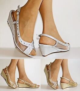 Image Is Loading NEW Ladies Low Wedge Heel Net See Thru