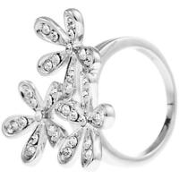 Rhodium Plated Ring W/ 3 Flower Bouquet Design & Crystals By Matashi (size 7) on sale
