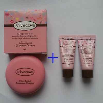 Rivecowe CC Pact Foundation 8g x 1pcs + CC Cream 5ml x 2pcs Makeup, Upgrade BB