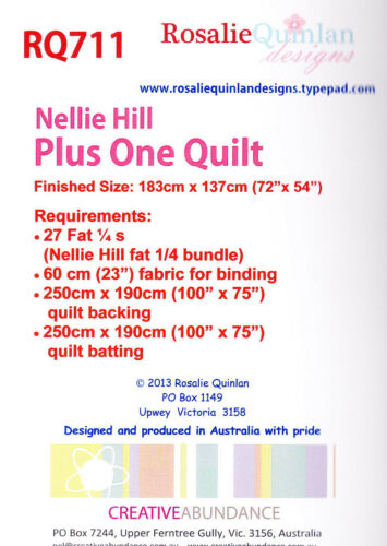 Nellie Hill Plus One Quilt Creative Card PATTERN pieced quilt mini PATTERN