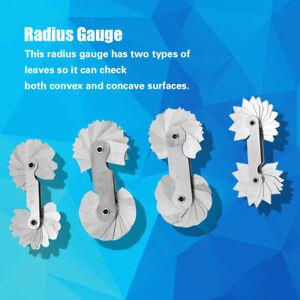 4x-Radiuslehre-Radiusschablone-Edelstahl-Messgeraet-Radienlehre-Werkzeug-Satz