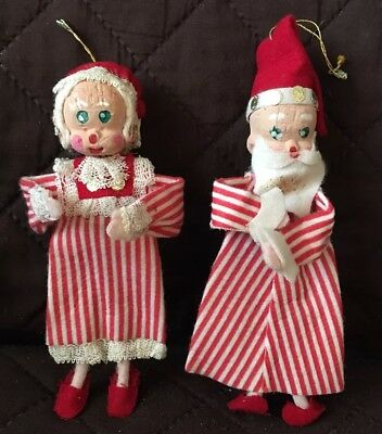 Japanese Christmas Tree Ornaments.2 Vintage Christmas Tree Ornaments Felt Santa Mrs Clause In Pajamas 7 Japan Ebay