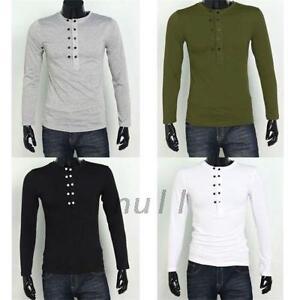 Mens Stylish Long Sleeve Button Top Jersey Henley Shirt