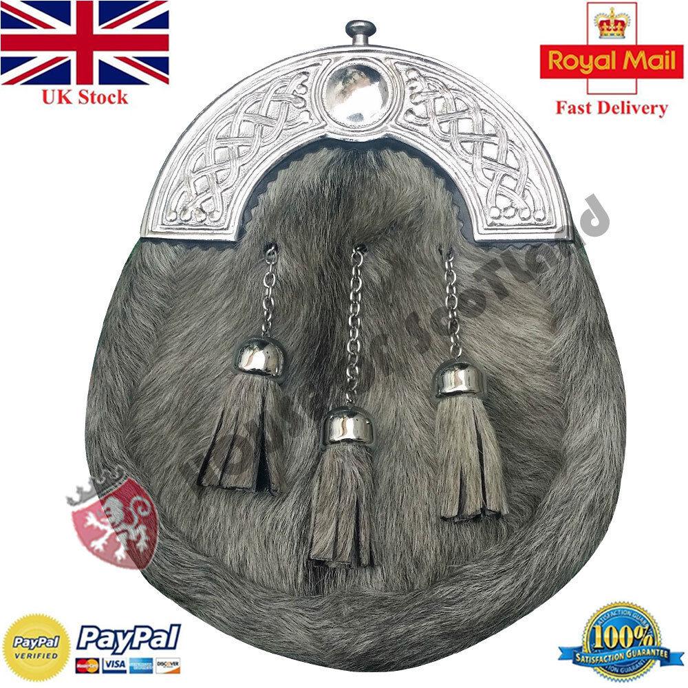 Traditional Scottish Full Dress Kilt Sporran Leather Grey Cowhide Celtic Chrome